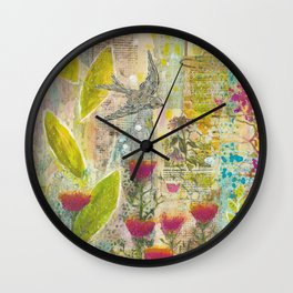 Purple Coneflower and Poppies Wall Clock