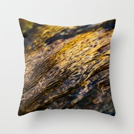 River Ripples in Yellow Gold and Brown Throw Pillow