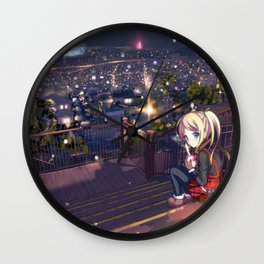 Lonely Teen Girl In Staircase Watching Magnificent Urbanscape Cartoon Scenery Ultra High Resolution Wall Clock