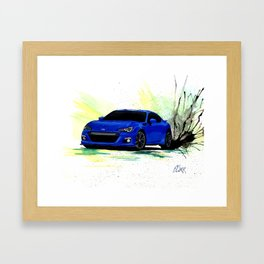 Subaru BRZ Watercolor Painting Framed Art Print