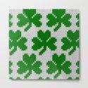 Shamrock pattern - white, green by knittedcake