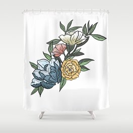 Pastel Peonies Watercolor Flowers and Leaves Shower Curtain