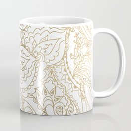 Elegant hand drawn white faux gold luxury floral Coffee Mug