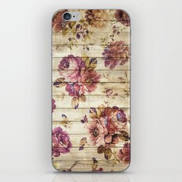 Rustic Vintage Country Floral Wood Romantic iPhone Skin