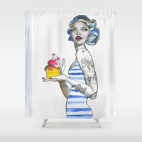 cupcake Shower Curtains featuring cupcake by Giselfust