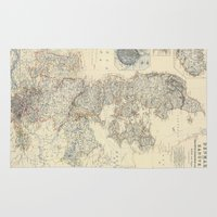 denmark Area & Throw Rugs featuring Vintage Map of Denmark (1862) by BravuraMedia