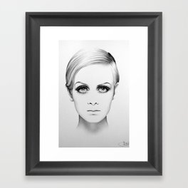 Twiggy Minimal Portrait Framed Art Print