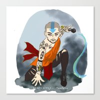 airbender Canvas Prints featuring Tattooed Airbender by alulawings
