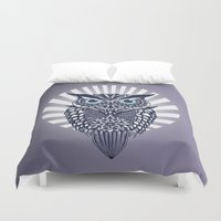 owl Duvet Covers featuring Owl by mark ashkenazi