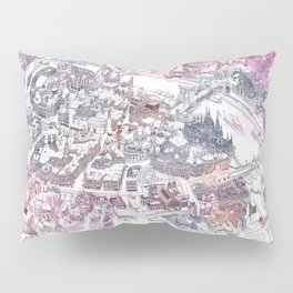 Colorful Budapest - Bird's Eye View Map Pillow Sham