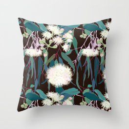 Australian Gumnut Eucalyptus Floral in White + Expresso Throw Pillow