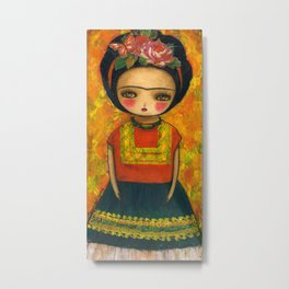 Frida In An Orange And Green Dress Metal Print