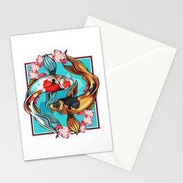 Japanese Japan Art Koi Carp Nishikigoi Fish Cherry Blossom T-Shirt Stationery Cards