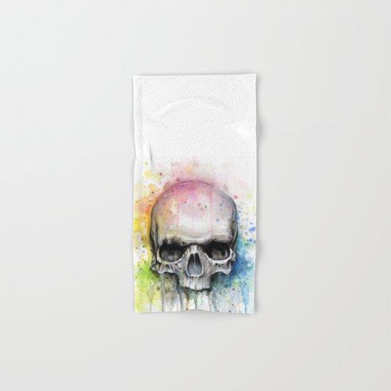 Skull Rainbow Watercolor Painting Skulls Hand & Bath Towel