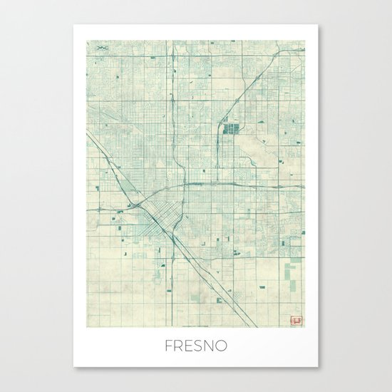 Fresno Map Blue Vintage Canvas Print