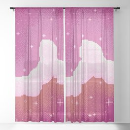 Lesbian Pride Flag Galaxy Sheer Curtain