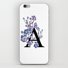 Letter 'A' Anemone Flower Typography iPhone Skin