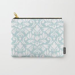 Flourish Damask Big Ptn White on Duck Egg Blue Carry-All Pouch