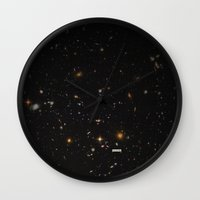 poster Wall Clocks featuring THE UNIVERSE - Space | Time | Stars | Galaxies | Science | Planets | Past | Love | Design by Mike Gottschalk