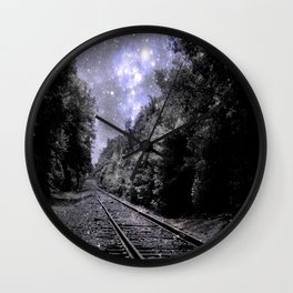 Train Tracks Next Stop Anywhere Periwinkle Gray Wall Clock