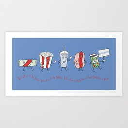 Let's All Go to the Lobby! - Blue Art Print