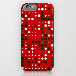 Abstract Black and White Dots on Red iPhone Case