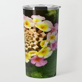 Fresh Lantana Flower Against Leaf Background Travel Mug