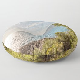 Sunlight reflected on the sea of Cap Martin in a sunny winter day Floor Pillow