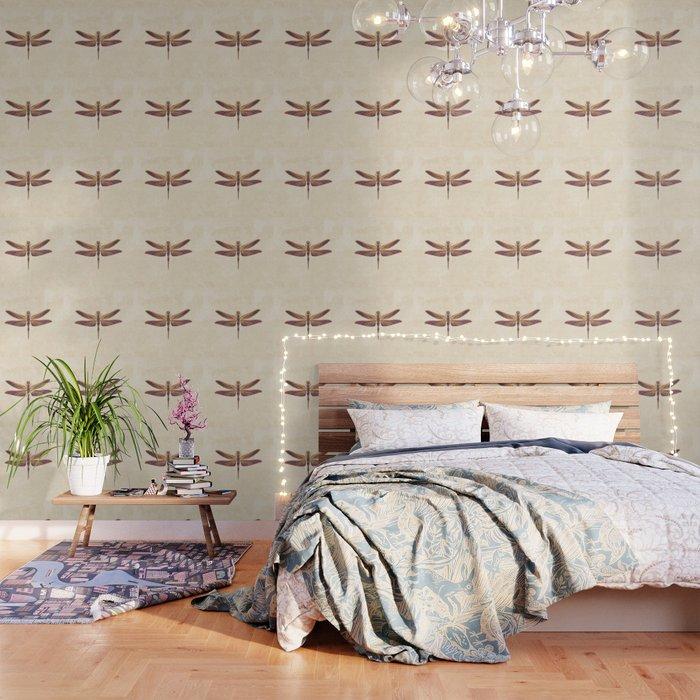 Art Nouveau Dragonfly In Purple Wallpaper