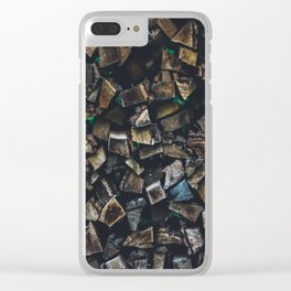 Wood Stack Clear iPhone Case