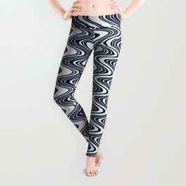 Classic blue waves, vertical wavy outline, abstract river flow Leggings