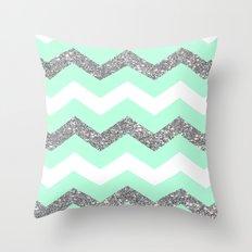 seafoam glitter chevron Throw Pillow