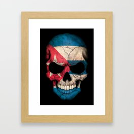 Dark Skull with Flag of Cuba Framed Art Print