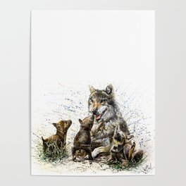 Good Morning wolf family watercolor Poster