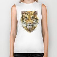 tiger Biker Tanks featuring Tiger // Strength by Amy Hamilton