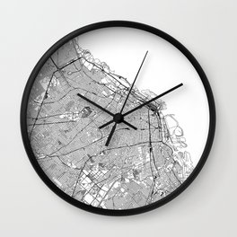Buenos Aires White Map Wall Clock