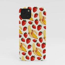 Strawberry Banana Pattern - White iPhone Case