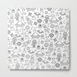 Space Print, Black and White pattern, Alien Illustration, Outer Space, Rocket Ship Metal Print