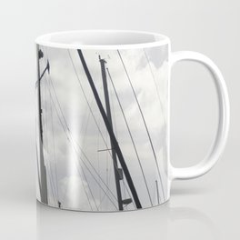 Yacht masts on cloudy sky Coffee Mug