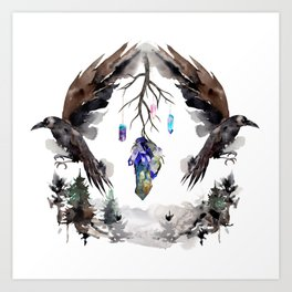 Black Ravens In The Crystal Woods Art Print
