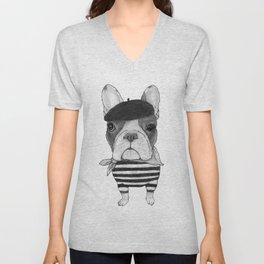 French Bulldog. (black and white version) Unisex V-Neck