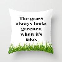 grass Throw Pillows featuring GRASS by C O R N E L L