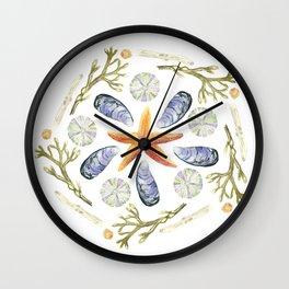 Tide Pool Beach Mandala 3 - Watercolor Wall Clock