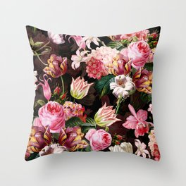 Vintage & Shabby Chic - Midnight Rose Garden Throw Pillow