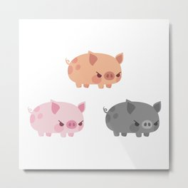 Three grumpy little pigs Metal Print
