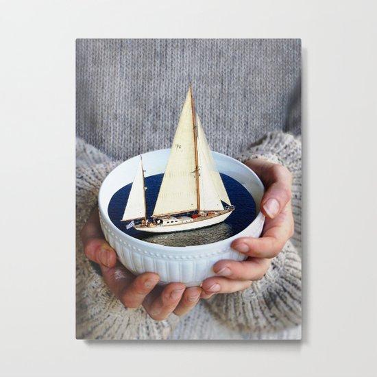 Ship in the bowl Metal Print