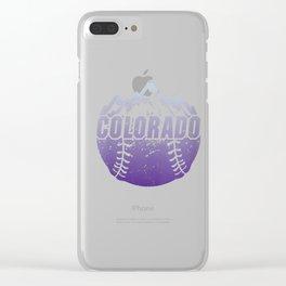Womens Colorado Baseball Rocky Mountains Design V-Neck T-Shirt Clear iPhone Case