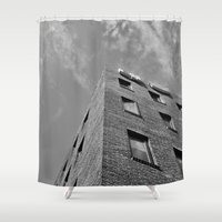seoul Shower Curtains featuring Building in Seoul by CABINWONDERLAND