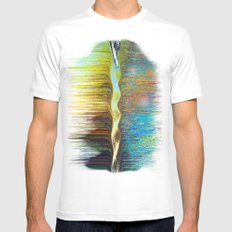 PeaksRainbowWaterfall White Mens Fitted Tee MEDIUM