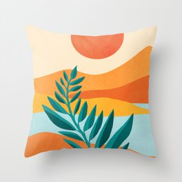 Mountain Sunset / Abstract Landscape Illustration Throw Pillow